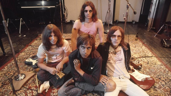 The Stooges (L-R Dave Alexander, Iggy Pop in front, Scott Asheton in back and Ron Asheton) in the studio in 1970, during the making of their second album, Fun House